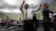 Even Godwin Higa, principal of Cherokee Point Elementary School, takes part.
