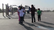 The Pathfinders observe students and talk about what they see with Karafin.