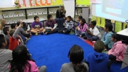 Third graders in Wendy Lindman-Fechner's class gather for their morning meeting.