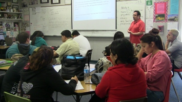English teacher Arnulfo Sanchez was an early supporter of PBIS. He's teaching students how to write about their goals.