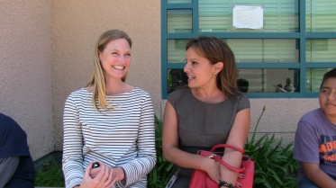 Social worker Lauren Maher (l) and School Mental Health Director Pia Escudero at Harmony Elementary School in Los Angeles, CA.