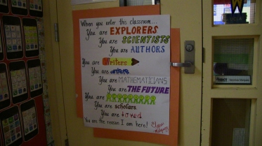 The doorway to classroom of fifth-grade teacher Veronica Marquez, a 2012  California Teacher of the Year.