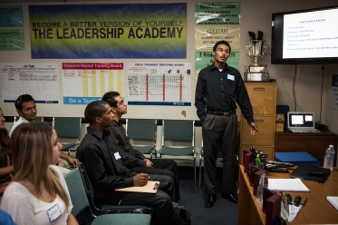 Terrick Bakhit introduces himself in a sales job training in San Diego, California, September 24, 2014. Bakhit has completed his GED, but never held a job, despite looking for one for the past three years. Bakhit is a former foster child who's struggled to make his way as an adult. He spent his 18th birthday incarcerated after a three-minute joyride in his group home van, so is unable to take advantage of AB12 – California legislation that gives assistance to foster youth as they transition into adulthood.