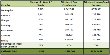 Breakdown of Katie A. youth, care coordination and home-based services in seven California counties.