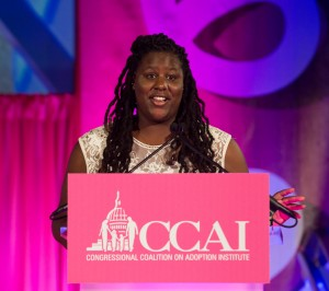 Amnoni Myers takes the stage at the 2014 Angels in Adoption celebration in Washington D.C. [CCAI photo]