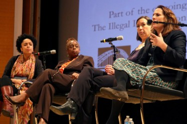 From left, Tynesha McHarris, director of community leadership at the Brooklyn Community Foundation, Renee Gregory, first assistant district attorney in the Brooklyn District Attorney's office, and Krista Larson, director of the Vera Institute of Justice's Center for Youth Justice, and Nell Bernstein, author of Burning Down the House. Credit: Meral Agish