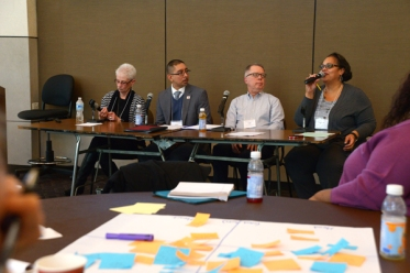 (l to r) Avis Smith, Eddie Bocanegra, Tom Scott, and  moderator Kim Mann. (Mike Kelly photo)